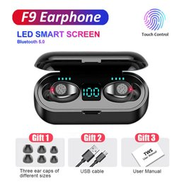 pink earphones headphones NZ - Wireless Bluetooth Earphone V5.0 F9 TWS Headphone LED Display Touch Control HiFi Stereo Earbuds 2000mAh Power Bank Headset With Mic