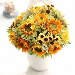 sunflower home decor Canada - Autumn Decoration 5 Heads Yellow Sunflower Silk Artificial Flowers Bouquet For Home Decoration Office Party Garden Decor 4 JCtm#