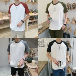Wholesale raglan shirt for men for sale – custom P0JQh for Korean classic versatile contrast raglan sleeve literary solid color T shirt T shirt sleeve short Basic men and women MT7NA