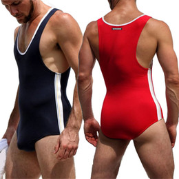 Wholesale underwear bodysuits men resale online - Jumpsuits Men Lingerie Modal Cotton Seamless Underwear Wrestling Bodysuits Leotard Sport Wear Jogging Fitness Singlet One piece Y201015