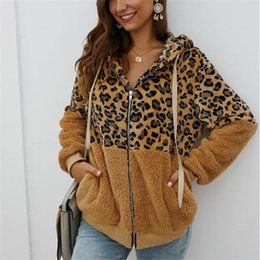 Wholesale fleece jackets women resale online - Women Faux Fur Jacket Female Winter Fashion Leopard Patchwork Hooded Overcoat Thick Warm Zipper Coat Fleece Soft Outerwear