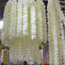 white silk wedding backdrop 2021 - White Artificial Silk Flower Rattan Orchid Wisteria Vines 39 Inches Long For Wedding Backdrop Decoration Shooting Props