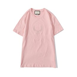 embroid tee Canada - Mens T Shirt New Arrival Man Designers Clothes 2020 Ears Of Wheat Embroid Fashion Tshirts Summer Womens Brand Tshirts Pink Tees AU 201006V