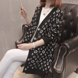 Wholesale womens jumpers for sale - Group buy 2020 designer luxury womens sweaterWomen lady s neck button Long Sleeve Cardigan sweater Oversize Luxury womans clothes women jumper