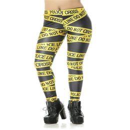 Wholesale pirates woman costume online – ideas Fashion Womens Pirate Costume Leggins Pants Digital Printing Yellow Police Cordon Woman Leggings Fitness Drop Shipping