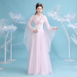 Wholesale han dynasty resale online - New Women Hanfu Chinese Traditional Folk Costume Girl Han Dynasty Dance Wear Lady Fairy Dress Cosplay Ancient Prince Suit SL4152