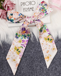 Discount stars chiffon scarf white Mixed design digital printing silk scarf bag handle scarves small ribbon decorative scarf bag with ladies flower colorful scarves wholesale