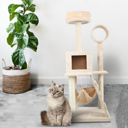 Wholesale cat towers for sale – custom 49 Inch Multi Level Cat Tree with Sisal Scratching Posts Cozy Platform Plush Perches Hammock Tunnel Condo Kitten Tower Furniture