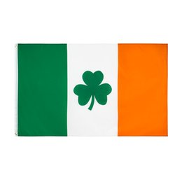 Wholesale irish flags for sale - Group buy Shamrock Ireland Flag x150CM Polyester Green White Orange Printed Home Party Hanging Flying Decorative Irish Flags Banners GWA4568
