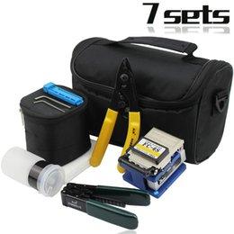 Fibra Óptica Ferramentas Kits de 7 em uma fibra óptica FTTH ferramenta saco + desnudamento fibra + fc-6s talhador + moleiro em Promoção