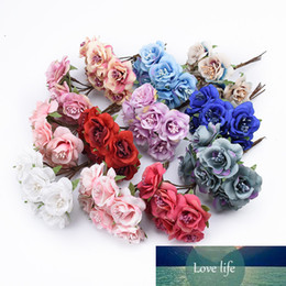 artificial flower stamens Canada - 6pcs Silk stamen roses bouquet vases for home decor diy gifts box decorative flowers wreaths bridal brooch artificial flowers