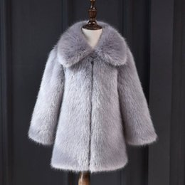 Wholesale kids mink coats for sale - Group buy 2020 Autumn Winter Children Girls Faux Mink Fur Collar Coat Baby Girls Thick Warm Hooded Jacket Kids Long Outwear Clothes W193 C1007 C1008