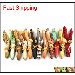 Discount toy tigers Cute Animal Wooden Hunting Slingshot Animal Giraffe Tiger Wolf Fox Dog Shape Sling Shot Toys For Outdoor Catapult Cpv5X