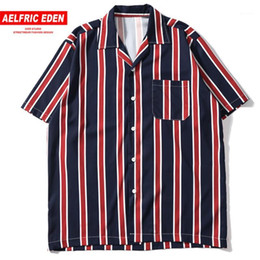 color blocked shirt 2021 - Aelfric Eden Color Block Stripe Beach Shirts Streetwear Men Summer Hip Hop Pocket Short Sleeve 2019 Male Fashion Turn-down Shirt1