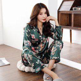 Wholesale pajamas for women for sale - Group buy Satin Silk Pajamas for Women Floral pyjama Pigiama Donna pjs Spring Autumn Mujer Pijama Sleepwear Nightwear Pizama Damska
