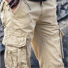 Wholesale large pocket cargo pants resale online - Men s Cargo Pants Mens Casual Multi Pockets Military Large size Tactical Pants Men Outwear Army Straight slacks Long Trousers LJ201217