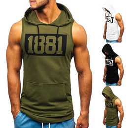 Wholesale 3xl sleeveless hoodie resale online - Men s Hooded Tank Tops Hoodie Sleeveless Tops Male Bodybuilding Workout Tank Top Muscle Fitness Gym Clothing Size S XL
