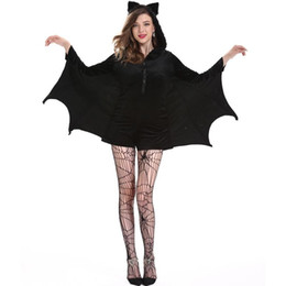 Wholesale woman vampire sexy costume online – ideas Woman Sexy Halloween Costume Halloween Bat Cosplay Costume M XL Black Bat Vampire Cosplay Costume For Girl Party Supplies DBC VT0712