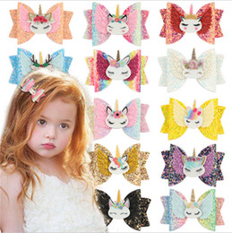 Kids Girls Cartoon Unicorn Glitter Hairpins PU Leather Bow Knot Hairgrips Hairbow Hair Clips Women Bowknot Barrettes Ponytail Holder E123104 on Sale