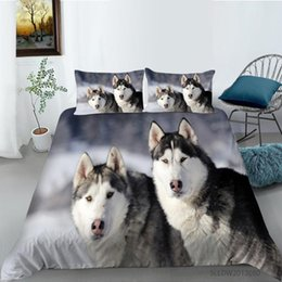 twin size bedding sets dogs 2021 - 3D Husky Dog Bedding Set Cute Animal Duvet Cover Queen King Size Husky Dog Bedding Set Home textiles discount twin size