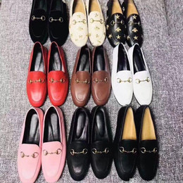 Wholesale print metal resale online - women Flat casual shoes Authentic cowhide Metal buckle Ladies shoes leather Mules Princetown Men Trample Lazy Large Dress shoes size