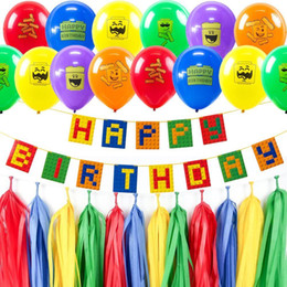 long latex balloons NZ - Colorful Theme Party Set Latex Balloons Happy Birthday Banner Building Block Kids Brick and Block Decorations Baby Shower 201127