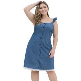 Wholesale CHAMSGEND 2020 women summer dress plus size floral dress plus size Casual O-neck Wooden Ear Sling Button Tassel Denim Mini1