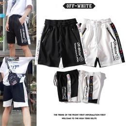 Wholesale off white men pants for sale – dress Off fashion white arrow string shorts men and women couples pure cotton trend hip hop sports pants beach pants