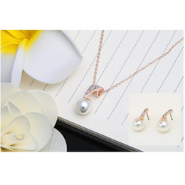 Exquisite Jewelry Sets Pendant Necklace Earrings Fashion Crystal Water Drop Inlay Accesories Woman Necklaces Ear Studs 3 11ly K2 on Sale
