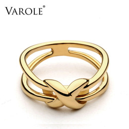 VAROLE Double Line Knotting Rings For Women Unique Design Fashion Jewelry Gifts Anel Feminino