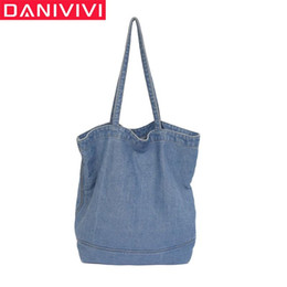 women casual sling bags NZ - Women Handbags Denim Shoulder Bag Casual Tote Large Capacity Teenager Girls Sling Bags Canvas Eco Shopping Bag Jeans Sac A Main