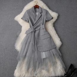 Wholesale lace maxi dress resale online – 2019 Spring Summer Elegant Short Sleeve Notched Lapel Pure Color Lace Panelled Long Maxi Dress Casual Dresses W0716T9748