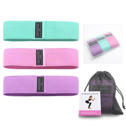 Wholesale 3-colors fabric resistance band fitness exercise tension band yoga exercise fitness hip elastic elastic rubber band