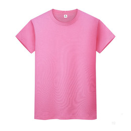 New round neck solid color T-shirt summer cotton bottoming shirt short-sleeved mens and womens half-sleeved RKIXio on Sale