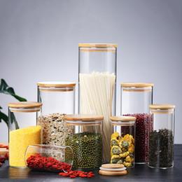 Großhandel Transparente Glasfutter-Speicherkanister-Korken-Abdeckung Gläser Flaschen für Sand Flüssigkeit umweltfreundlich mit Bambusdeckel