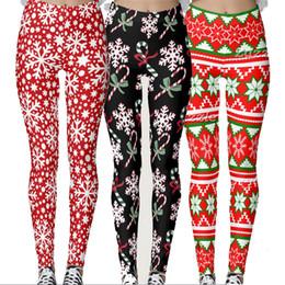 Wholesale sexy leggings tights feet resale online - Christmas Leggings D Pencil Pants Snowflake Elk Tights Women Print Foot Pants Elastic Jeggings Sexy Stretch Skinny Slim Jeggings