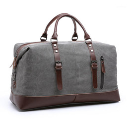 Discount big handbags for travel High Quality Canvas Travel Tote Luggage Men's Weekender Duffle Bag Travel Luggage Handbags Big Vintage Tote Bag for