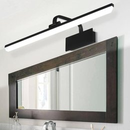 wall mounted lighted makeup mirror UK - 9W 12W 14W 16W LED Wall Mount Light Bathroom Makeup Mirror Front Lamp Fixture SMD 2835 Acrylic Bedroom Black Brass White Shell