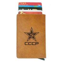 vintage wallets purse NZ - Classic Soviet Union Scythe Hammer CCCP Rfid Card Holder Men Wallets Brown Vintage Short Purse Leather Slim Wallets Mini Wallet