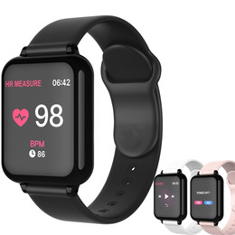 Wholesale smart watch phone for sale - Group buy B57 Smart Watch Waterproof Fitness Tracker Sport for IOS Android Phone Smartwatch Heart Rate Monitor Blood Pressure Functions