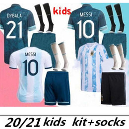 Discount argentina socks 2020 2021 Argentina MESSI Kids Kit Soccer Jersey full kits 20 21 MESSI DYBALA MARADONA AGUERO HIGUAIN kids soccer jersey kit+socks