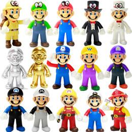 Venta al por mayor de Super Mario Bros Stand Luigi Mario Peluche Toys Soft Relleno Muñecas de anime para niños Regalos Super Mario Peluche Toys