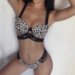 Kadınlar Plaj Bikini Set Moda Leopar Baskılı Kız Mayo Yaz Seksi Push Up Mayo Parti için