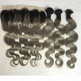 human hair two tone gray NZ - Gray Human Hair Weaves With Lace Frontal Closure Gray Ombre Hair 3 Bundles With Lace Frontal Two Tone Hair Extension 4Pcs Lot