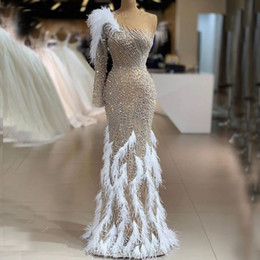 Major Beading Feather Prom Dresses With Beads One Shoulder Mermaid Evening Dress Full Sleeves Long Sleeves Luxury Celebrity Pageant Gowns on Sale