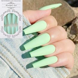 Fashion 24Pcs/Set False Nail Tips Matte Full Cover Long Ballet Fake Nails With Glue NailArt French Manicure Tools