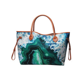 turquoise handbags Canada - Abstract Art Stone Canvas Tote Turquoise Cave Hole Style Handbag Fashion Women Endless Tote Bag with PU Handle and Hasp Closure DOM1735