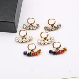 Boucles d'oreilles de diamant coloré brillants perles Boucles d'oreilles femmes de concepteur Boucles d'oreilles de marque Brel charme Boucle d'oreille strass coréen goujons de charme en Solde