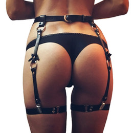 cool belt buckles 2021 - Sexy women men leather Waist Garter belts for Stockings Bow 4 suspenders Handmade cool Costume Outfit O-Round Waist Belt Y200501