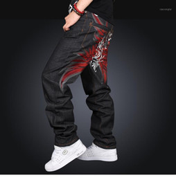 boys jeans sizes UK - Men's Black Baggy Jeans Hip Hop Designer Brand Skateboard Pants Loose Style Plus Size 30-42 True Hiphop Rap Jeans Boy Trousers1